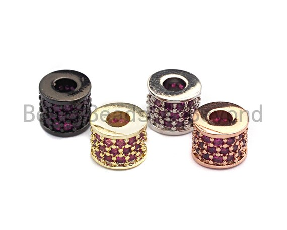 CZ Big Hole Drum Barrel Fuchsia Micro Pave Beads, Gold/Rose Gold/Silver/Black Cubic Zirconia Spacer Beads, DIY Jewelry, 6x7mm, sku#X44