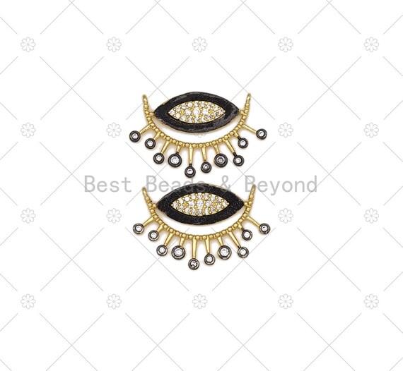 CZ Micro Pave Black Enamel Evil Eye With Teardrop Shape Pendant, 18K Gold Filled Evil Eye Charm, Necklace Pendant,19x30mm, Sku#L633