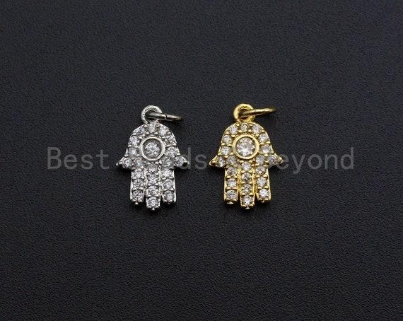 CZ Micro Pave Hamsa Hand Pendant ,Gold/Silver Tone ,Cubic Zirconia Jewelry Findings, 9x14mm,sku#L275