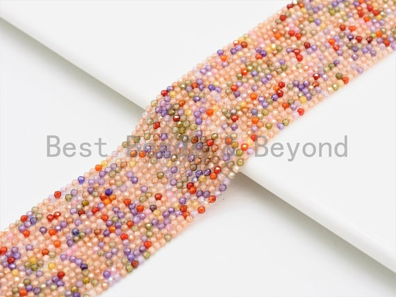 2mm/4mm High Quality Sparkly Mixed Color Cubic Zirconia Beads, Faceted Sparkly Pink Peach Easter Color beads, 15inch full strand, SKU#U425