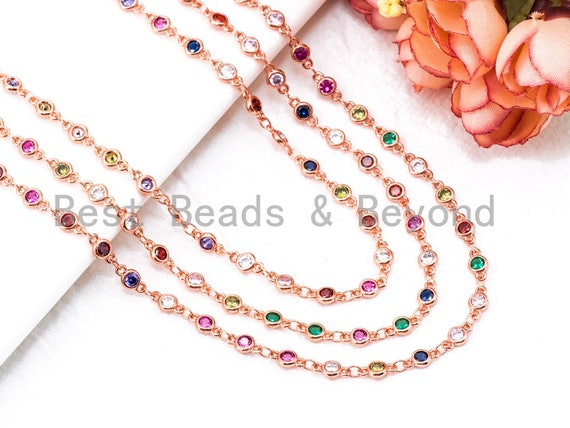 1 Foot/Yard-Multi Colored CZ Beaded Chain-4mm Cubic Zirconia Beads-Gold Silver Rose Gold Gunmetal Plated over Brass-Bezel Chain, sku#E347