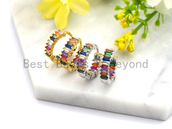 Rainbow CZ Micro Pave Huggie Earrings, cubic zirconia micro pave earrings, Hoop Earrings,Huggie Earrings, Minimalist Hoops, sku#J46