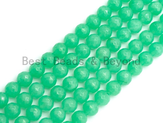 Chrysoprase Jade Round Faceted Beads, 6mm/8mm/10mm/12mm Green Color Jade Gemstone Beads, 15.5inch strand, SKU#U438