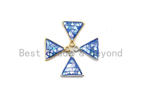 100% Natural Royal Blue Color Shell Triangle Pendant Charms, Blue Color Shell Pendant, Shell Jewelry Making, Shell Finding, 11x12mm,SKU#Z306