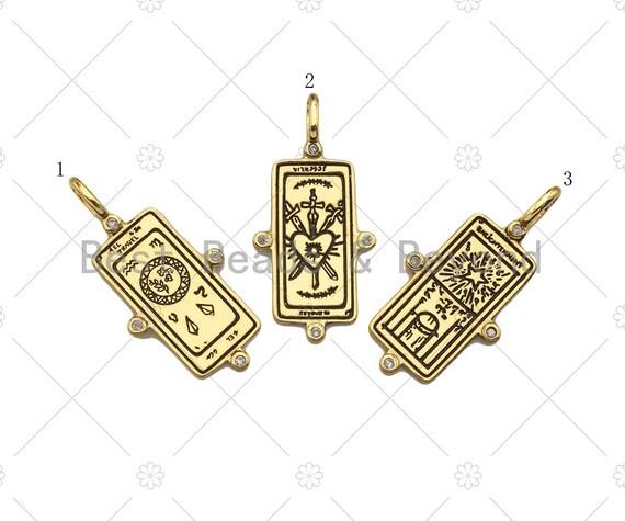 Heart Star Pattern On Rectangle Shape Pendant/Charm,18K Gold Filled Medallion Charm, Necklace Bracelet Charm Pendant,16x34mm,Sku#Z1379