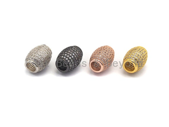 CZ Micro Pave Large Hole Drum Barrel Spacer Beads for Bracelet/Necklace, Cubic Zirconia Big Hole Spacer Beads, 10x12mm, sku#X106