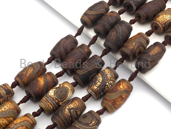 1pc/11pcs Natural Tibetant Agate beads, Ancient Tibetan Barrel Shape Beads, Dzi Brown Agate beads, 15x25mm, sku#U555