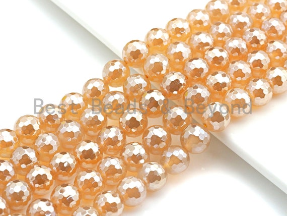 """Mystic Faceted Agate Beads,6mm/8mm/10mm/12mm, Gold Champagne Color Agate Gemstone beads, 15.5"""" Full Strand, sku#U688"""