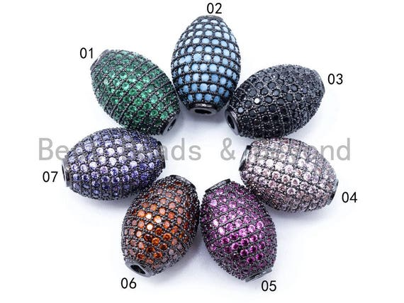 Colored CZ Micro Pave Barrel Drum Spacer Beads, Green Purple Orange Black Blue Space Beads for Necklace Bracelt, 16x16x12mm, sku#G187