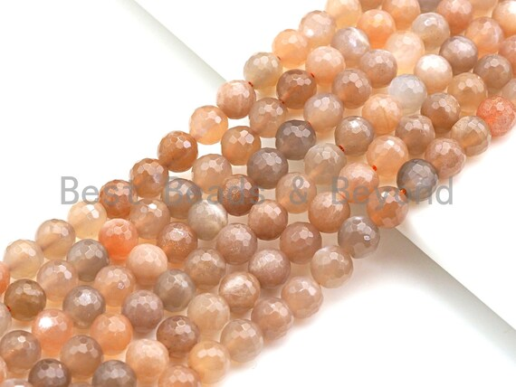 "Mystic Natural Peach Moonstone, Sunstone Round Faceted, 10mm/12mm, 15.5"" Full Strand, sku#U724"