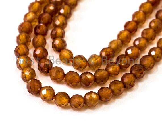 "2mm/3mm/4mm Natural Garnet Round Faceted Beads, Brown Gemstones Beads,Garnet Beads,15.5"" Full Strand,SKU#U106"