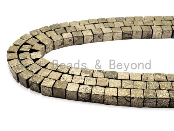 "Natural Pyrite Cube Beads,3mm/4mm Pyrite Gemstone Beads, 15.5"" Full Strand, SKU#W22"