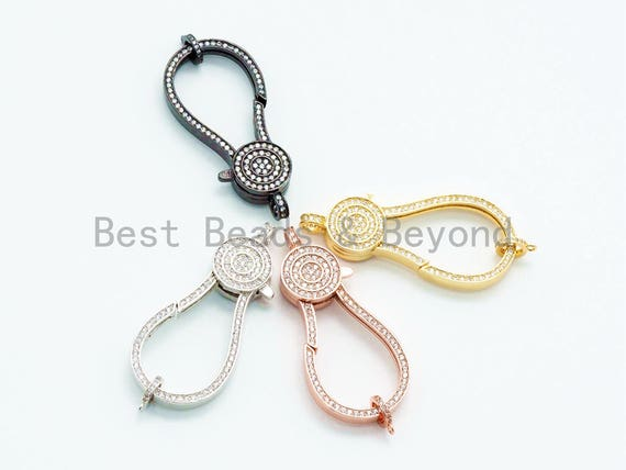 CZ Clear Micro Pave Jumbo Lobster Claw Clasp, Mega Jumping Ring Clasp Charm, Gold Rose Gold Black, 56x23mm,sku#H40
