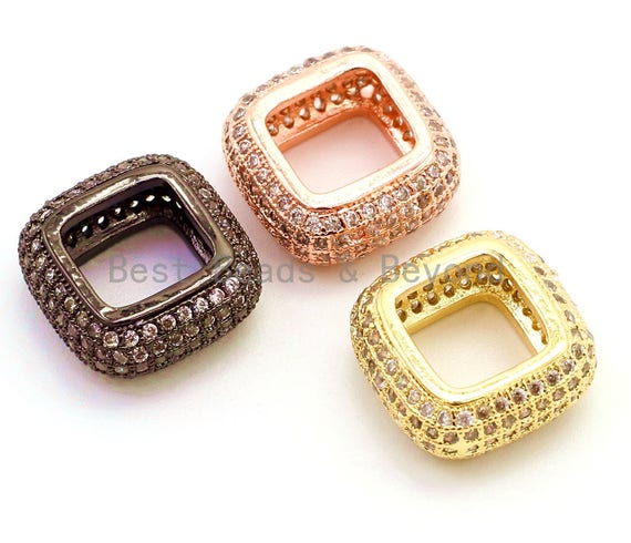 14mm CZ Micro Pave Big Hole Square Ring Spacer Beads Clear Crystal for Bracelet/Necklace, Cubic Zirconia Large Square Hole Beads, sku#G67