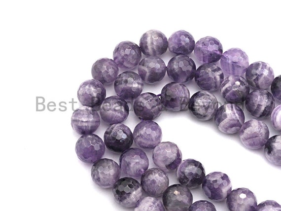 "High Quality Natural Dog Teeth Amethyst, Round Faceted 6mm/8mm/10mm, Natural Amethst, 15.5"" full strand, sku#U484"