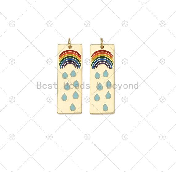 Enamel Rainbow and Rain On Rectangle Shape Pendant, 18K Gold Filled Rianbow Charm, Necklace Bracelet Charm Pendant,11x32mm, Sku#L634