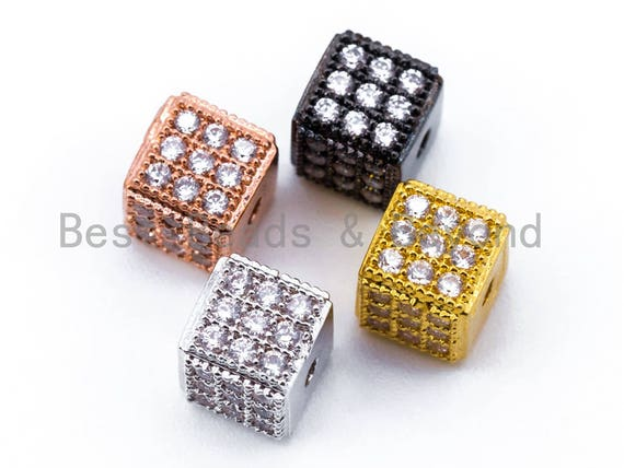 1pc/2pcs CZ Micro Pave 6mm Cube Spacer Beads, Cubic Zirconia Spacer Beads, Gold,Silver,Rose Gold,Black Tone, sku#C22