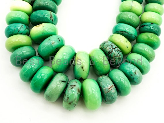 8-18mm High Quality Natural Green Opal Graduated,Rondelle Smooth/Faceted Gemstone Beads,Green Color Beads, 15.5inch strand, SKU#U194