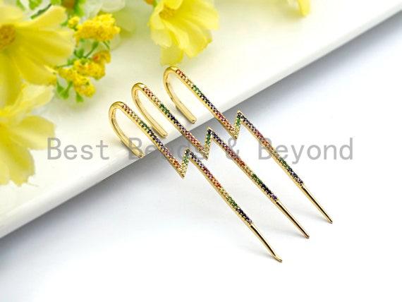 PRE-SELLING Clorful Cz Micro Pave Cz Long Spike Earring Wires, Spike Dangle Earrings, Colorful CZ micro pave earrings, 8x67mm, sku#J141