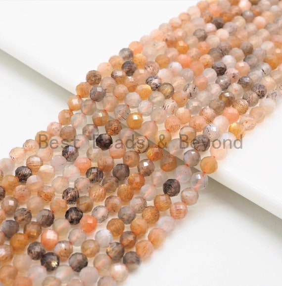 2/3/4mm High Quality Natural Mixed Color Moonstone Beads, Round Faceted beads, Tiny Sparkly Moonstone Beads, 15.5inch strand, SKU#U368