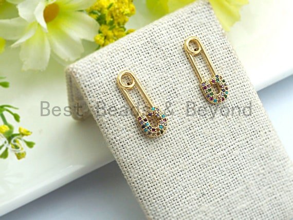 Safety Pin Dainty huggies hoops, Gold plated Pave Earrings, Stud Earring, Minimal Earring,Pave Safety Pin Earring,sku#J95