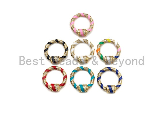 Colorful Enamel Pave Round Ring Shape Clasp, Carabiner Clasp, Ring Connector, Charm Holder, 23.5mm, sku#H265