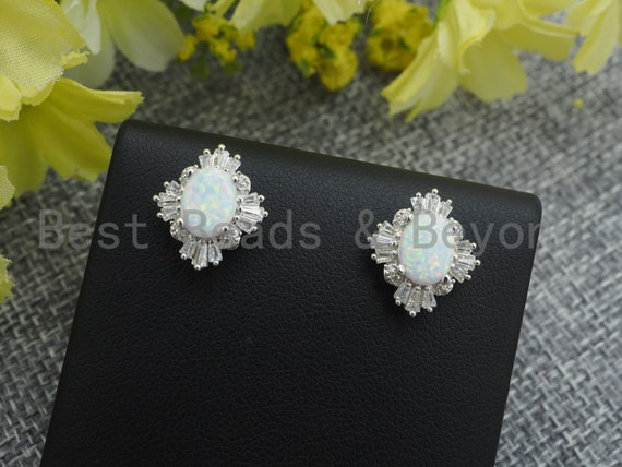 CZ Micro Pave with Opal Stone Ear Studs, Stud earring/Piercing/Cubic Zirconia Gemstone Earrings, Bridal Jewelry, 13x14mm, sku#O70