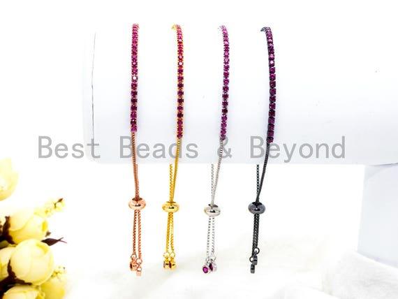 NEW Style Adjustable Bracelet, Fuchsia CZ Pave Stud Bracelet Gold/Silver/Rose Gold/Gunmetal, Bridal Bracelet Jewelry, SKU#P46