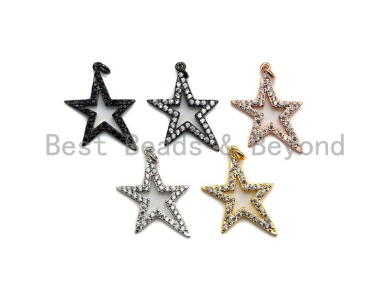 Clear/Black CZ Micro Pave Five Star Shape Pendant, Star Cubic Zirconia Pendant, Silver/Gold/Rose Gold/Black Tone, 13x23mm,Sku#X135/Y43