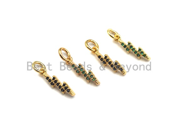 PRE-SELLING Cz Colorful Pave Thunder Lightning Bolt Charm/Pendant, Green/Black CZ Thunder Shaped Pave Pendant, Gold plated, 4x15mm, Sku#Z418