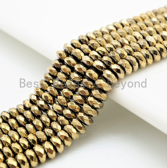 Quality Natural Pyrite Color Hematite beads,Rondelle Faceted Beads, 2x3/3x6/4x6/3x8/5x8/6x10mm Gemstone Beads, 15inch FULL strand, SKU#S95