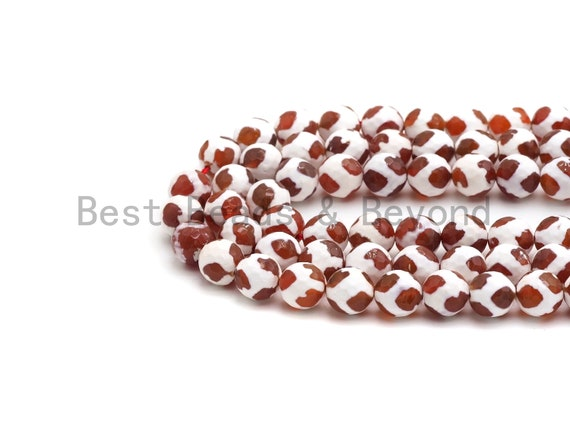 Quality Dzi Red White Dots Agate Beads, Round Smooth Tibetan Agate, 6mm/8mm/10mm/12mm beads, 15.5inch strand, SKU#U432