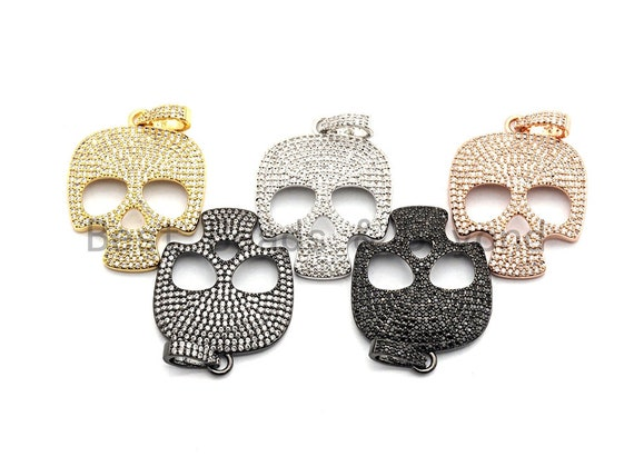 CZ Clear/Black Micro Pave Skull Pendant, Cz Pave Pendant, Gold/Rose Gold/Silver/Gunmetal plated, 26x33mm, Sku#F775