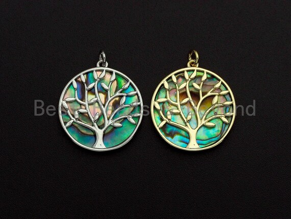 PRESELLING Abalone Inlay Tree Round Pendant/Charm, Tree Cubic Zirconia Pendant, 22x24mm,Sku#Z892