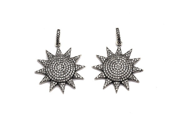 PRE-SELLING CZ Fully Micro Pave Sunflower Pendant, Antique Silver Tone,  Cubic Zirconia Pave Sunflower Charm Pendant,28x30mm,sku#F985