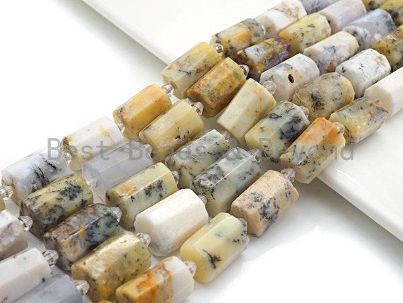 High Quality Natural Dentric Opal Cylinder Facted Beads, Natural Opal beads, 12x18mm, sku#U668