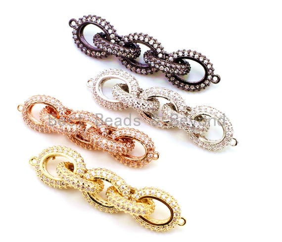 50x12mm CZ Micro Pave Five Rings Chain Shaped Connector, Cubic Zirconia Oval Link Connector in Gold/Black Finish, sku#G97