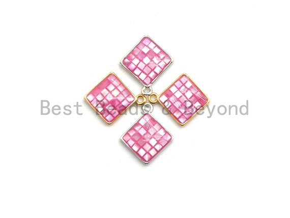 100% Natural PINK Color Shell Diamond Shape Charm, Fuchsia Color Shell Charm, Pink Shell Jewelry, 13x16mm,SKU#Z327