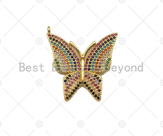 Colorful CZ Micro Pave Butterfly Shape Pendant, Cubic Zirconia Butterfly Pendant, Gold Tone Pendant, 26x28mm, sku#LK181