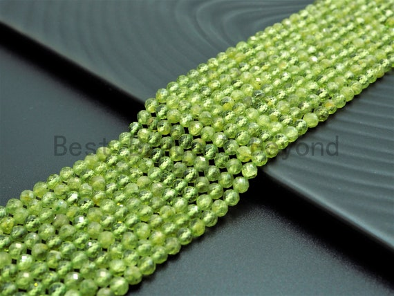 High Quality Natural Olivine Peridot Round Faceted beads, 2mm/3mm/4mm Tiny Sparkly Peridot Gemstone Beads, 15.5inch strand, SKU#U358