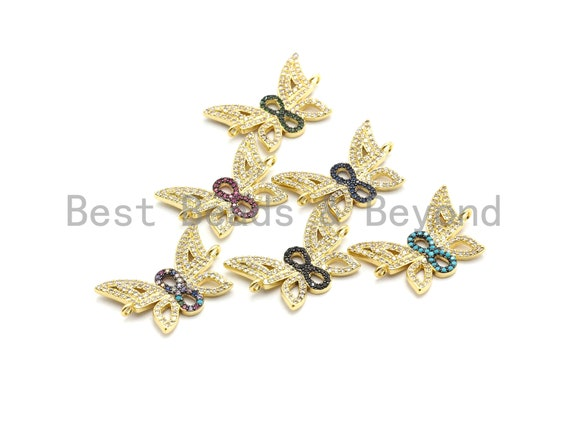 PRE-SELLING Colorful CZ Micro Pave Butterfly Connector for Bracelet/Necklace, Butterfly Connector, Spacer Connector,17x25mm,sku#E437