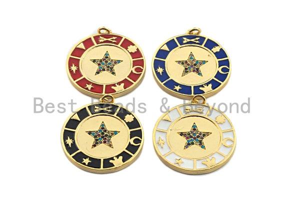 Enamel Star On Coin Charms,Enamel Pendant,Enamel Coin Pendant, Oil Drop jewelry Findings,29x32mm,sku#F936
