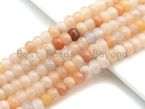 "2mm Large Hole Natural Pink Aventurine Beads, Rondelle Faceted 6x10mm/5x8mm, 8"" Long Strands, sku#U733"