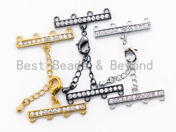 1set Four Loops CZ Micro Pave Multi-Strands Lobster Claw Clasp, Clear CZ Pave in Gold/Silver/Black Finish, Jewelry Findings,28x6mm,SKU#K29