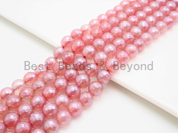 Mystic Silverite Plated  Pink Quartz Faceted, High Quality in Round Faceted 6mm/8mm/10mm/12mm, 15.5inch strand, SKU#U342