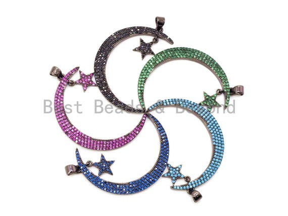 CZ Micro Pave Colored Crescent Moon and Star Pendant, Cubic Zirconia Pendant, 44x5mm, sku#F53