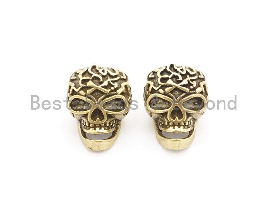 Antique Style Skull Mask Bead, For 550 Paracord Survival Bracelet, Men's Bracelet Beads, Paracord KeyChain Beads, 14x19x12mm, 1pc, sku#Y131