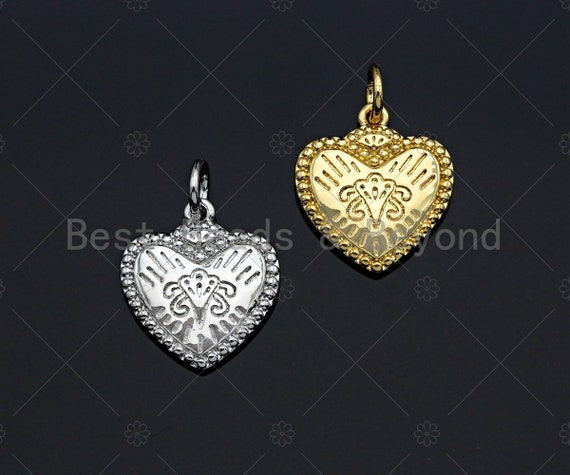 CZ Micro Pave Falling Heart Shape Pendant, Gold/Silver Plated Jewelry, Necklace Bracelet Charm Pendant, Heart Charm, 13x14mm,sku#F1215