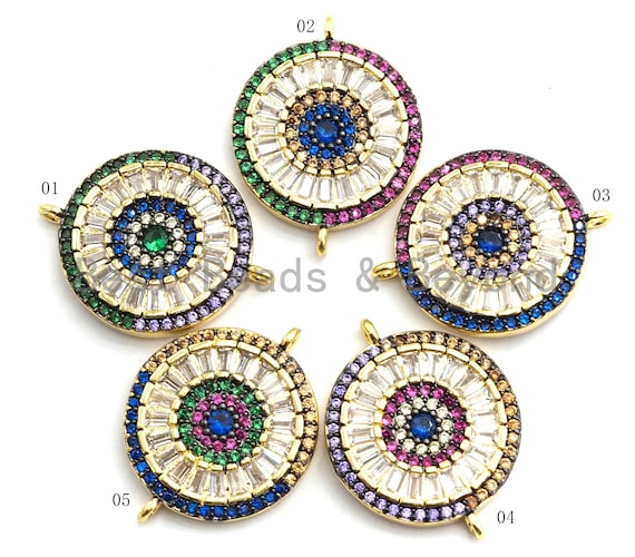 PRE-SELLING Colorful CZ Micro Pave Round Coin Eye Connector with Baguette, Coin Connector, Evil Eye Connector, 17x22mm,sku#E447