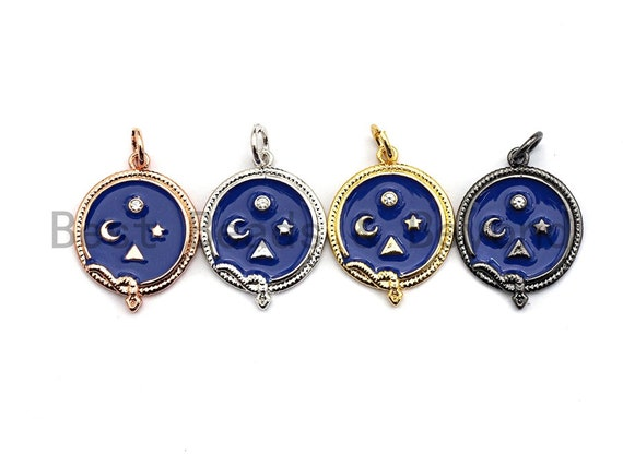 Blue Enamel Moon Star Snake Charms Pendant, Enamel Pendant,Round Enamel, Oil Drop jewelry Findings,16x20mm,sku#Z369